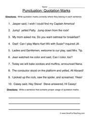 Quotation Marks Worksheet Quotation Marks Punctuation Worksheet 3