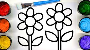 coloring flower sun coloring pages with painting children learn