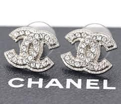 cc earrings chanel cc logos rhinestone stud earrings silver tone a12 w box