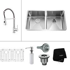 kraus undermount stainless sink shop kraus kitchen combo 19 in x 32 75 in double basin stainless