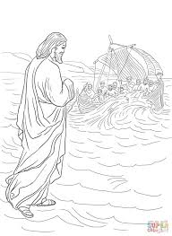 bible coloring pages new testament jesus walking on water spesific
