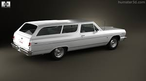 classic volkswagen station wagon 360 view of chevrolet chevelle malibu 2 door wagon 1964 3d model