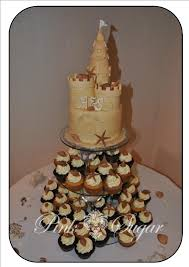 pink sugar sandcastle wedding cake u0026 cupcakes