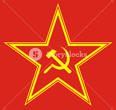 Sickle Russian Flag Communist Red Star With Hammer And Sickle On Red Background