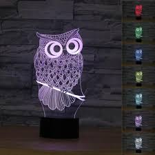 2017 owl 3d night light rgb changeable mood lamp led luminaria