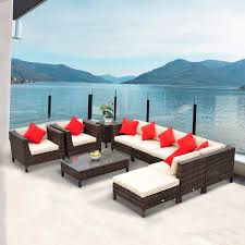 outsunny 9pc rattan wicker furniture lounger set sectional sofa