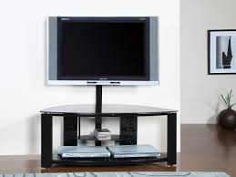 dark brown stained mahogany wood low tv stand with cast iron