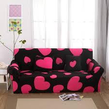 canap amovible coeur motif canapé canapé couvre polyester noir élastique coin