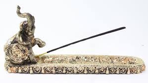 gold elephant buddha wraps incense burner holder lucky figurine