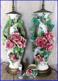 italian porcelain roses pair of large italian porcelain table lamps roses in relief capo