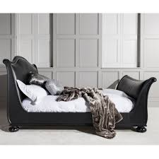 Black Leather Sleigh Bed Safari Leather Sleigh Bed By Frank Hudson Luxury Bed