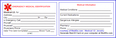 medication card template printable id cards templates free