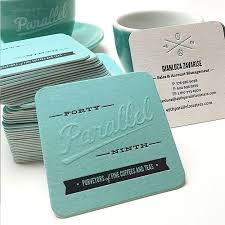 square shaped letterpress business cards with blind embossing