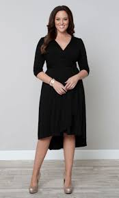 winona hi lo wrap dress black womens plus size wrap dresses