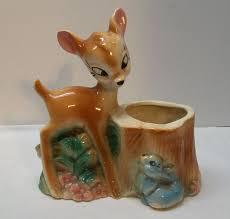 porcelain bambi and thumper walt disney planter vintage vintage
