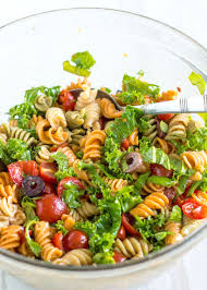 bruschetta pasta salad with olives and kale nourished the blog