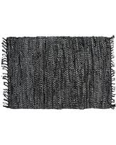 Solid Black Area Rugs Amazing Deal On Home Weavers Broadway Collection Woven Leather