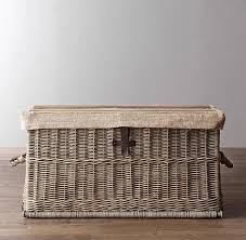 Wicker Trunk Coffee Table Shore Woven Rattan Coffee Table Williams Sonoma