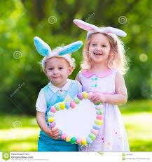 kids easter kids on easter egg hunt stock image image of