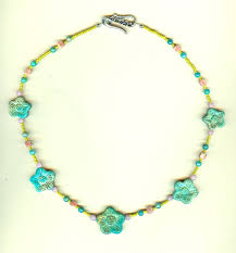 flower bead necklace images Hand carved turquoise flowers bead necklace jpg