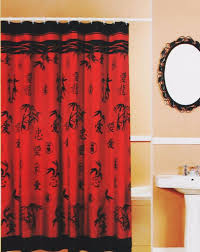popular curtains asian bamboo oriental red black fabric shower curtain popular bath