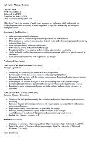 call center manager resume sample resume for your job application