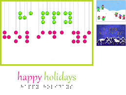 happy holidays card design in braille and print including