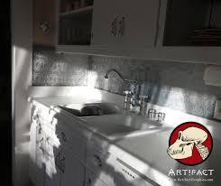tin tiles for backsplash in kitchen decorating faux tin backsplash with kitchen shelf and butcher