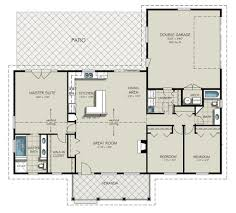 open ranch floor plans for 3 bedroom 2 bath homecar garage open