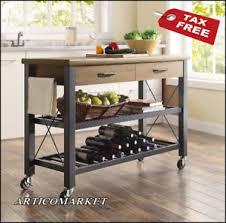 kitchen cart island on wheels metal shelves wine rack rustic wood
