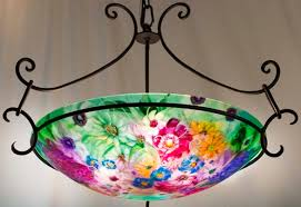 Painted Chandelier Pale Green And Pink Flower Garden Painted Chandelier By Artist