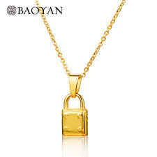 gold lock necklace images Buy 316l stainless steel gold color small lock jpg