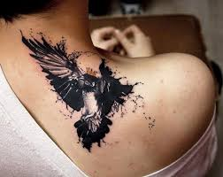 the crow tattoo on shoulder real photo pictures images and
