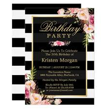 floral black white stripes birthday card zazzle