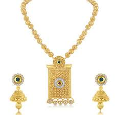 gold haram sets sukkhi dazzling gold plated haram necklace set for women