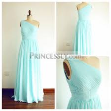 a line one shoulder floor length mint blue chiffon bridesmaid dress - Mint Blue Bridesmaid Dresses