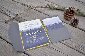 mountain wedding invitations my diy story mountain wedding pocket invitation cards pockets