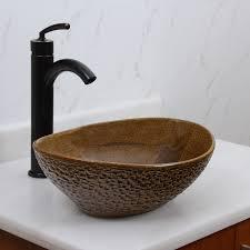 Ceramic Bathroom Fixtures Bathroom Elite 1551 Oval Coffee Brown Glaze Porcelain Plus White