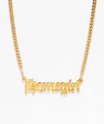 gold nameplate vidakush homegirl nameplate gold choker necklace zumiez