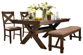 Traditional Dining Room Sets by Powell 4 Piece Kraven Dining Room Set In Dark Hazelnut