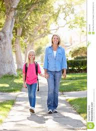 Suburban People Mother And Daughter Walking To On Suburban Street Royalty