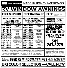 Awning Sizes Rv Window Awnings