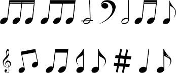 clipart variety of musical notes silhouette