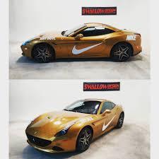 cars ferrari gold nike style california t with gloss metallic gold wrap done
