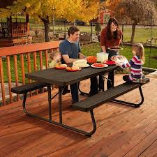 folding cing picnic table lifetime 6 folding outdoor picnic table brown 60110