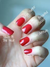 essie pink toned reds comparison haute in the heat style hunter