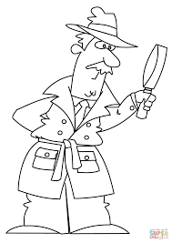 cartoon detective coloring page free printable coloring pages