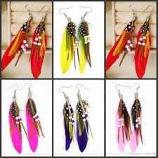 feather earrings s 2017 women s feather earrings ear ornaments bohemian wind