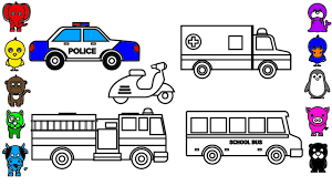learn colors for kids with police car coloring pages fire truck