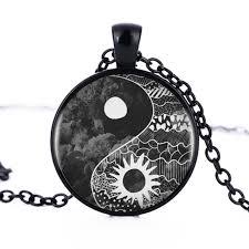 1pcs lot vintage yin yang sun and moon necklace pendant kolye